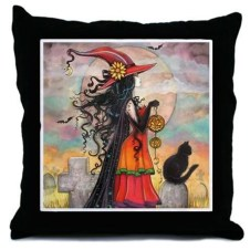 Witch Way Halloween Throw Pillow