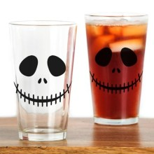 Skeleton Face Halloween Drinking Glass